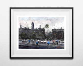WILL ELLISTON Fine Art Print Spain Street Passeig de Colom Barcelona Watercolour Painting Urban Giclee High Quality Town Impressionist Scene