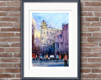 WILL ELLISTON Fine Art Print of Spanish City Street Cartagena Watercolour Painting Urban New Giclee High Quality Vibrant Impressionist Scene