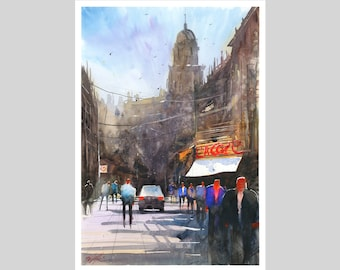 WILL ELLISTON Fine Art Print of Spanish City Street Malaga Watercolour Painting Urban New Giclee High Quality Vibrant Impressionist Scene A3