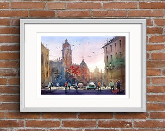 WILL ELLISTON Fine Art Print of Spanish City Street Teruel Watercolour Painting Urban New Giclee High Quality Vibrant Impressionist Scene A3