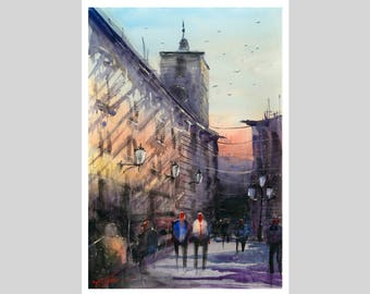 WILL ELLISTON Fine Art Print of Spanish City Street Granada Watercolour Painting Urban New Giclee High Quality Vibrant Impressionist Scene