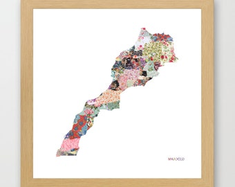 MAROCCO MAP, flowers composition, roses, Giclee Fine Art, Poster Print