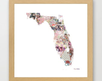 FLORIDA MAP, florida painting, Florida art, colorful map, flowers composition, roses, Giclee Fine Art, Poster Print