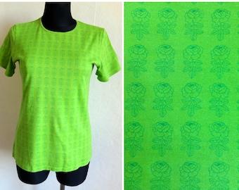2998ce21f MARIMEKKO Green Floral T- Shirt Women's Cotton Jersey Tee Marimekko Clothing  Printed Flowers Comfortable T Shirt M Size Marimekko Top