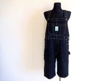 9df06dd9b8 Vintage Black Denim Overalls Fashion 90s Black Jeans Cotton overalls Denim  Pants