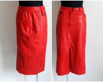 f982ca06c0 Vintage Red Genuine Leather Textured Skirt Midi Skirt High Waist False Slit  Zipper Closure Vintage 80s 90s Skirt Full Lining