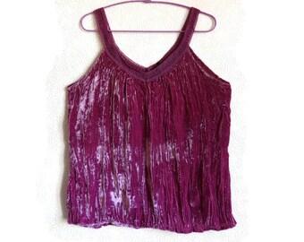e0eb3c80c65d44 Dark Pink Velvet Top Sleeveless Clothing Women s Summer Top Vintage Clothing  V Neck Top