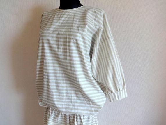 Vintage VUOKKO White & Beige Horizontal Striped B… - image 5