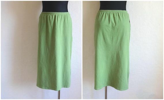 MARIMEKKO Green Midi Skirt Cotton Jersey Elastic