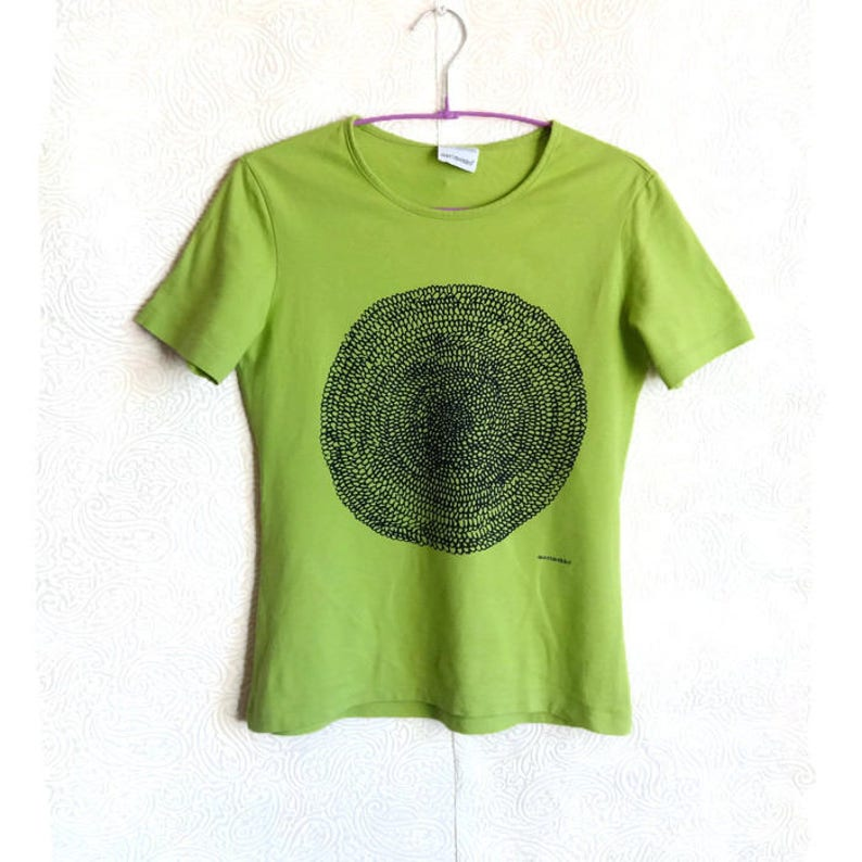 Marimekko Salat Grün Mit Dunklen Grün Kreis T Shirt S Größe Womens T Shirt Baumwolle Jersey Shirt Marimekko Kleidung Sommershirt Abstrakt Kreis