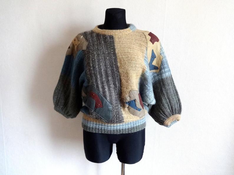 Cuir La Mohair Pull Tricoté En Chaud Laine Made Vintage Squadra In Véritable Femmes Embelli Italy Montecarlo Colorblock 8kwPnOX0