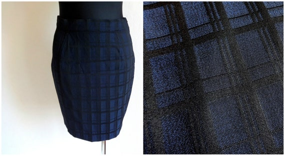 amp; Thierry Vintage Closure Vintage Skirt 80s Black Pencil Short Checkered French Clothing Skirt Side Wool Mugler Blue Skirt Zipper wtwAdqC