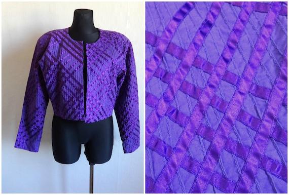 Purple Black  80s  1980s  Waterfall Neckline  Size L  Large Vintage Batik Print Jacket  Cropped Jacket  Cotton  Blue