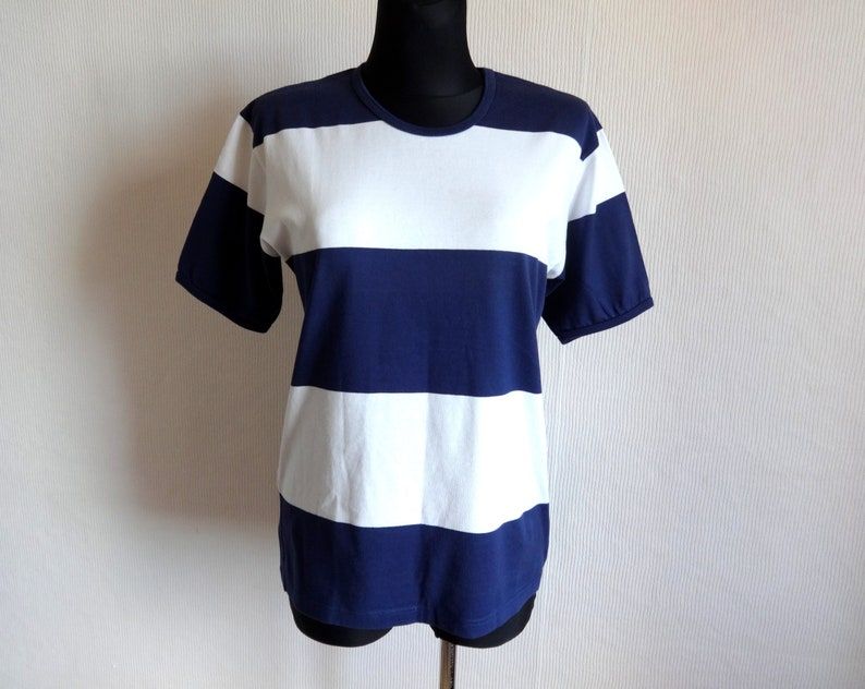 f9738229 Marimekko Blue & White Wide Striped T Shirt Cotton Jersey Tee | Etsy