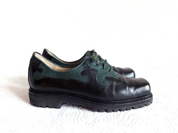 Leather Sole Oxfords Lace Black Genuine Vintage Shoes Up Women's Shoes Fit 39 amp; EUR Green Corrugated Fashion Comfortable 90s xFFwXZq