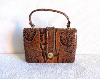 Vintage Genuine Snake Skin Handbag Brown & Black Color Short Handle Bag Vintage Women's Accessory Real Snake Skin Bag
