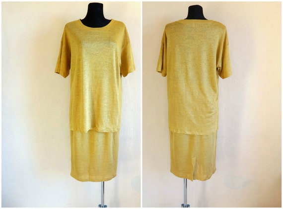Marimekko 80s  Straw Yellow Vintage Linen Top & Sk