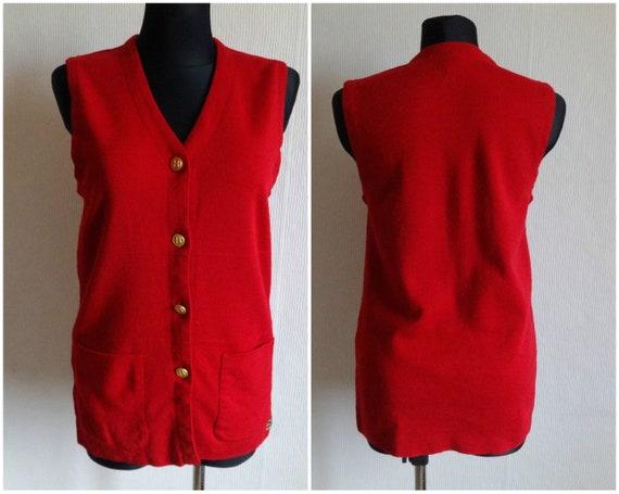 Busnel Vintage French Vest Red Women's Wool Vest W