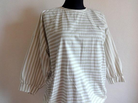 Vintage VUOKKO White & Beige Horizontal Striped B… - image 2