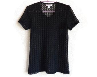 Black Mesh Top Short Sleeves Women's Clothing Round Neck Mesh Shirt Vintage Clothing Fashion 90s Summer Top Mesh Clothing