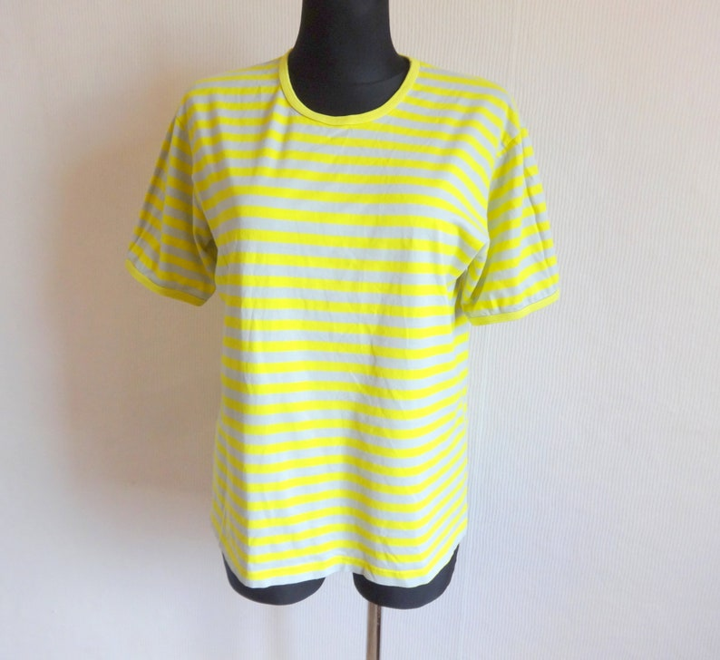 b4a9fc3ad8 Marimekko Striped Yellow & Gray T Shirt Women's Tee   Etsy