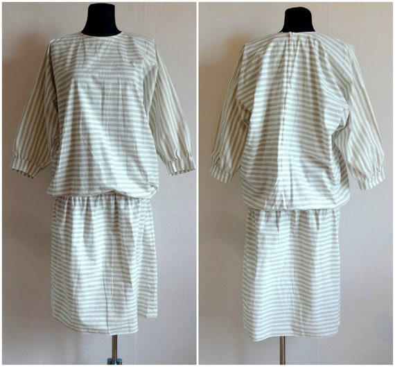 Vintage VUOKKO White & Beige Horizontal Striped B… - image 1