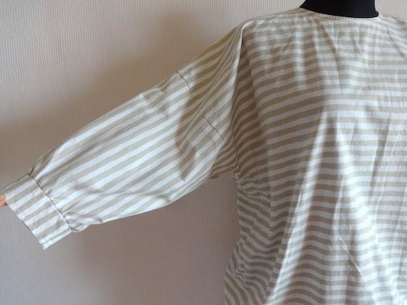 Vintage VUOKKO White & Beige Horizontal Striped B… - image 3
