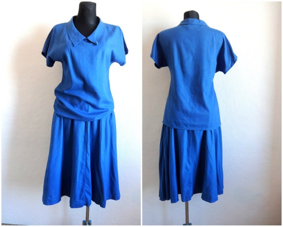 Vintage Marimekko Silk  Skirt Suit Midi Skirt & To
