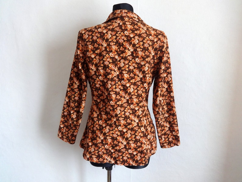 Vintage pia /& paula Corduroy Brown Printed Roses Blazer Finnish Clothing Brown Floral Blazer Buttons Down Women/'s Cloting 80s 90s USA 10
