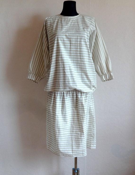 Vintage VUOKKO White & Beige Horizontal Striped B… - image 10