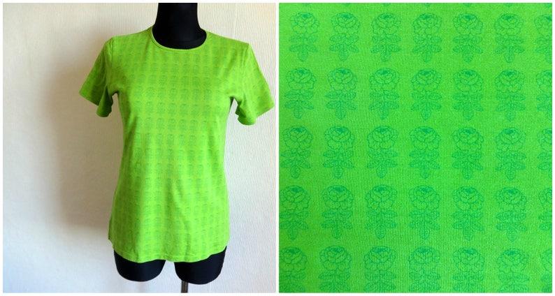27fd94cc75 MARIMEKKO Green Floral T Shirt Women's Cotton Jersey Tee   Etsy