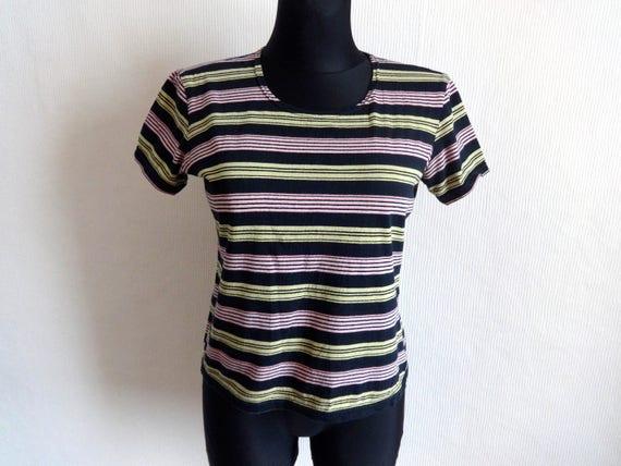 MARIMEKKO Striped Black Yellow Pink T- Shirt Women