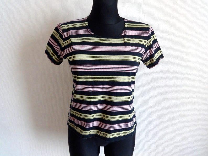 b884f46092 MARIMEKKO Striped Black Yellow Pink T Shirt Women's Tee   Etsy