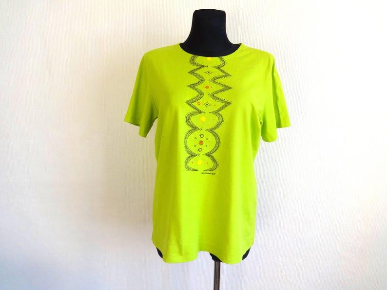 1a054c0bd0 Marimekko Salad Green & Black Abstract Print T Shirt   Etsy