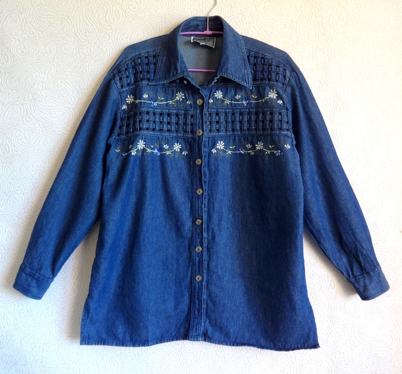 742a6c8c5b6 Denim Shirt Embroidered Flowers Vintage Women s Jean Shirt