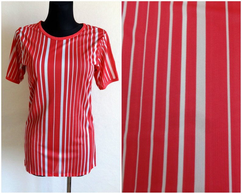 c12f138b Marimekko Striped Red & White T Shirt Vertical Stripes Short | Etsy