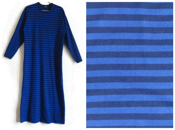 MARIMEKKO Dress Comfortable Dress Maxi Clothing Cotton Women's Dress Grunge Striped Blue Dress Finnish Sleeve Ankle Long Clothing Nautical PUPwqr4v