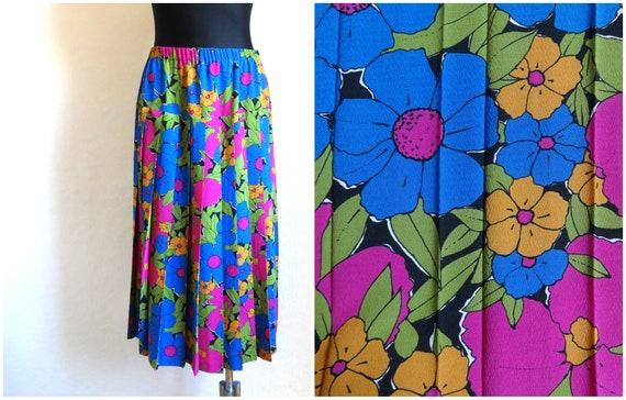 Sky Blue Skirt Brown Pink Floral Print Skirt Midi Pleated Skirt Elastic Waist Skirt Summer Skirt Extra Large Size
