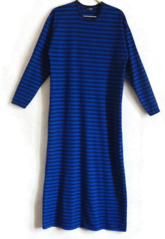 MARIMEKKO Dress Comfortable Dress Maxi Clothing Cotton Women's Dress Grunge Striped Blue Dress Finnish Sleeve Ankle Long Clothing Nautical PUPwqr4v