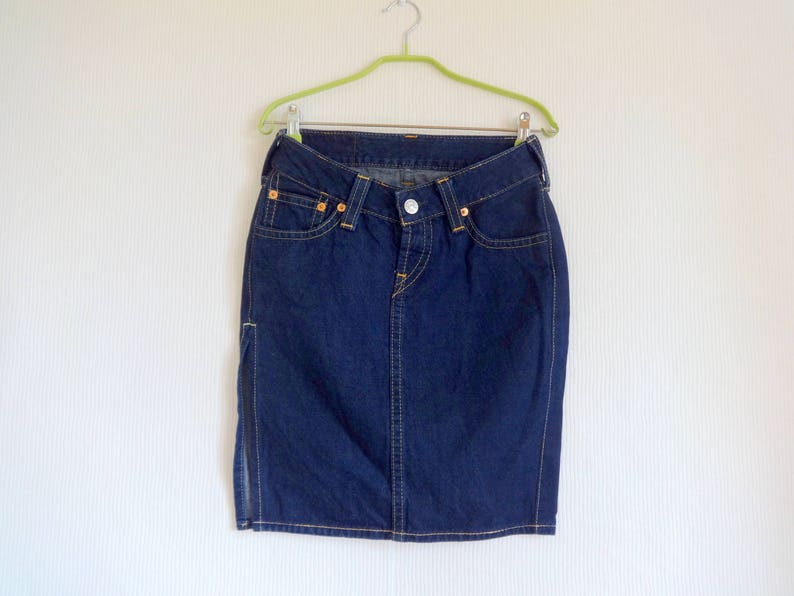 f028267e76 Vintage Levi's Denim Skirt Mini Skirt Side Split Dark Blue   Etsy