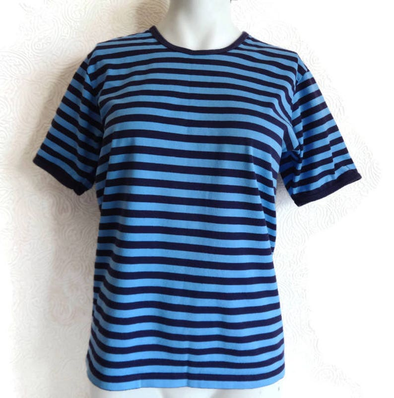 f8e7150c MARIMEKKO Blue & Purple Striped T Shirt Cotton Jersey Shirt | Etsy