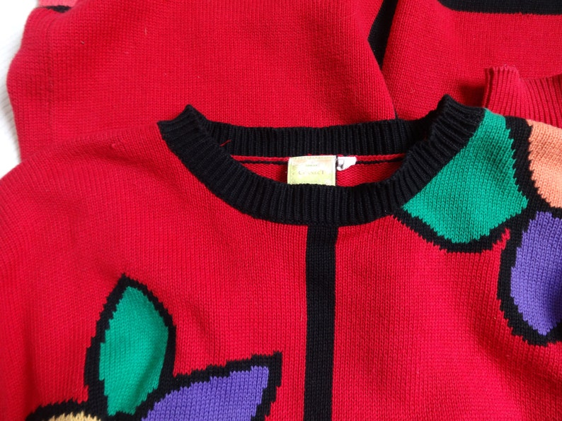 Vintage Women/'s  Red Floral Long Jumper Cotton Sweater Dress Color Block Pullover Colorful Sweater Knitted Bohemian Hipster Clothing