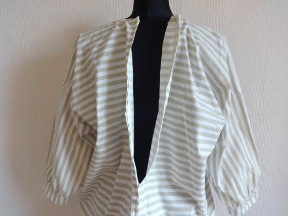 Vintage VUOKKO White & Beige Horizontal Striped B… - image 6