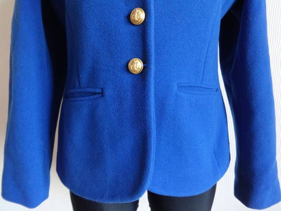 Jacket Golden Lining Coat Women's Royal Full Buttons Warm Wool French Anchor Blazer Wool Coat Vintage Blazer Metallic Blue qwTCp4