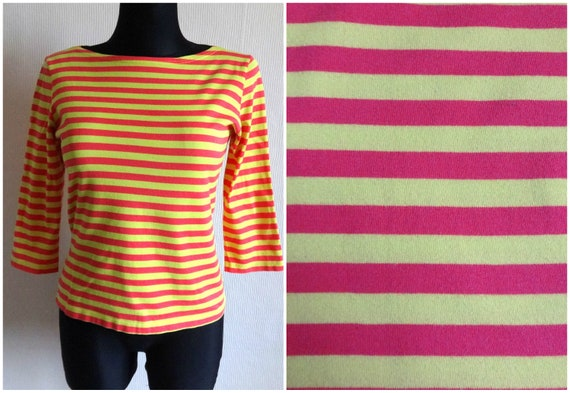 Marimekko Yellow & Pink Striped Cotton Jersey Top