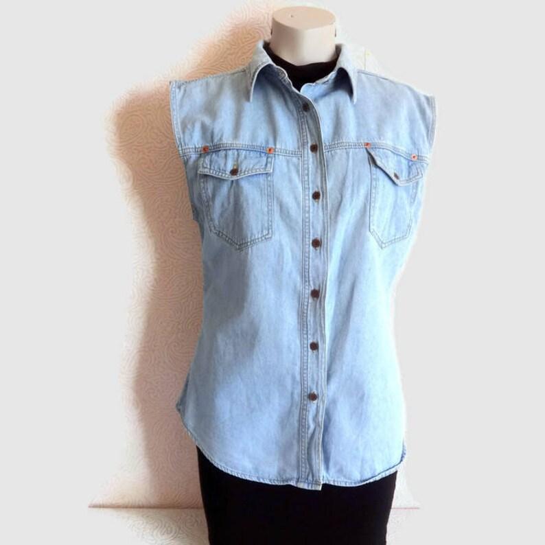 5ac5346c66e Vintage Light Blue Denim Vest Sleeveless Jean Vest Buttons