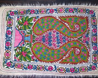 paisley cashmere handmade embroidery felted wool rug 6x4ft kilim tapis namda free shipping - Tapis Kilim