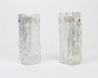 140 Pair of Murano Ice Glass Vanity Sconces by Kaiser, Germany, 1970s