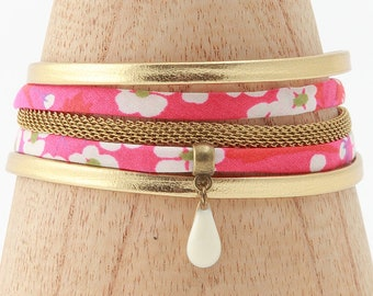 Hot pink leather and liberty cotton cord Cuff Bracelet
