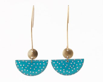 Crochet half-moon pattern earrings tropical turquoise and coral polka dots